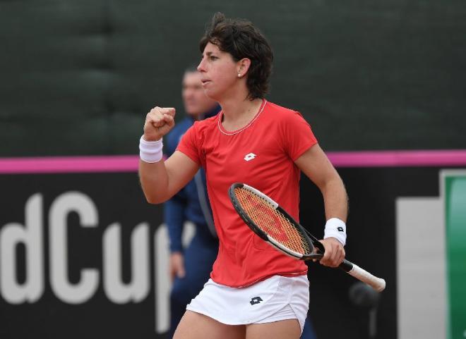 Carla Suarez Navarro, qui prendra sa retraire à la fin de la saison, a qualifié l'Espagne pour la phase finale de la Fed Cup grâce à ses deux victoires en simple - © DR