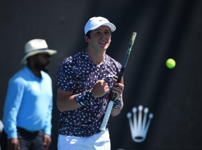 Harold Mayot, qui a remporté ce samedi le titre juniors à Melbourne, s'affirme comme le grand espoir du tennis tricolore - © DR