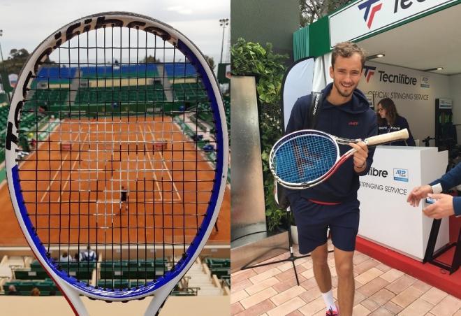 Tecnifibre est le cordeur officiel à Monte-Carlo. A droite à l'image, Daniil Medvedev qui joue avec la raquette Tecnifibre XTC - © DR