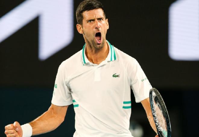 Novak Djokovic n'hésite jamais à être démonstratif pour impressionner son adversaire - © Schreyer - Icon Sport