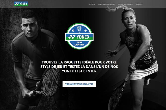 La home page de la plateforme du Test Center de raquettes de Yonex - © DR