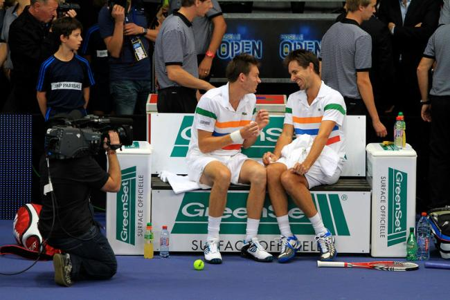 Photo of Édouard Roger-Vasselin & his friend tennis player  Nicolas Mahut -